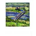 """Картина """"Вечерний пейзаж с мостом им. Патона"""", 2000, масло, картон, 50x50 см"""