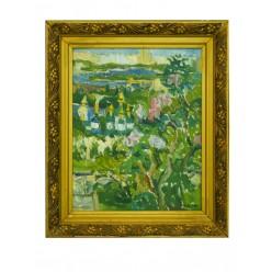 "Картина ""Выдубичи. Цветет сирень"", 2007, масло, картон, 50x40 см"