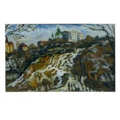 """Картина """"Гора Детинка ранней весной"""", 1981, масло, картон, 50x80 см"""
