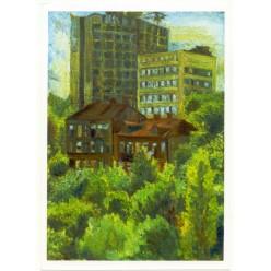 """Картина """"Киев старый и молодой. Улица Кудрявская"""", 1981, масло, холст и картон, 70x50 см"""