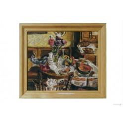 """Картина """"Кот, фрукты и цветы"""", 1998, масло, холст, 50x60 см"""