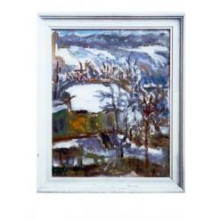 """Картина """"Морозное утро. Домик на улице Кургановской"""", 2000, масло, картон, 50x40 см"""