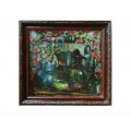 "Картина ""Натюрморт на фоне черного платка с узорами"", 1977, масло, картон, 50x50 см"
