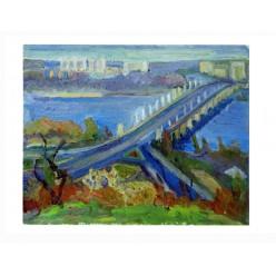 "Картина ""Осенний вечер. Мост им. Патона"", 2000, масло, картон, 40x50 см"