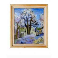 """Картина """"Снежные узоры утреннего Седнева"""" 1983 год, выполнена маслом на картоне - 60 x 50 см"""
