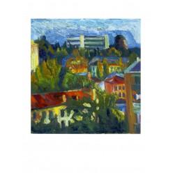 """Картина """"Яркий вечер. Улица Бастионная"""" 1987 год, выполнена маслом на картоне - 50 x 50 см"""