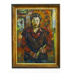 """Картина """"Автопортрет в красном"""", 1990, масло, холст и картон, 70x50 см"""