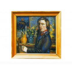 "Картина ""Автопортрет в мастерской"", 1978, масло, холст и картон, 50x50 см"