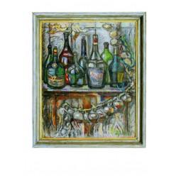 """Картина """"Бутылки и связка лука"""", 1998, масло, холст и картон, авторская техника, 80x65 см"""