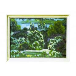 "Картина ""Выдубичи. Цветет сирень"", 1982, масло, картон, 50x70 см"