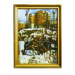 "Картина ""Морозное утро. Киев строится"", 1985, масло, холст и картон, 70x50 см"
