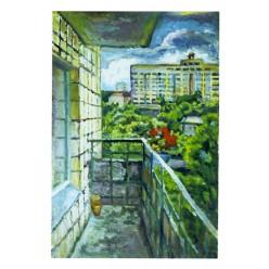 """Картина """"Пейзаж из балкона. Улица Кургановская"""", 2000, масло, картон, 70x50 см"""