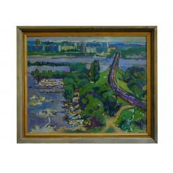 """Картина """"Пейзаж с лодками и мостом"""", 2000, масло, холст, 65x80 см"""