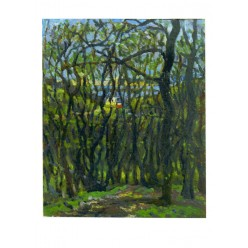 """Картина """"Пейзаж со стороны Зверинецкого кладбища"""" 1987 год, выполнена маслом на картоне - 50 x 50 см"""