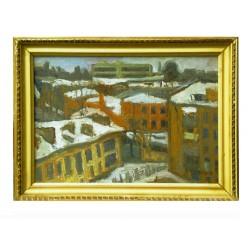 "Картина ""Печерск. Зима. Улица Бастионная"" 1987 год, выполнена маслом на холсте и картоне - 35 x 50 см"
