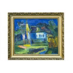 """Картина """"Под фонарем"""" 1983 год, выполнена маслом на картоне - 30 x 40 см"""