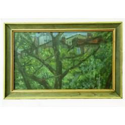"""Картина """"Старый сад. Улица Кудрявская"""" 1981 год, выполнена маслом на холсте - 50 x 80 см"""