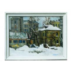 "Картина ""Уголок старого Киева"" 1981 год, выполнена маслом на холсте и картоне - 50 x 70 см"
