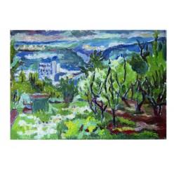 """Картина """"Цветущий Киев. Вид на Корчеватое из ботанического сада"""" 2003 год, выполнена маслом на картоне - 35 x 50 см"""