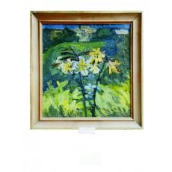 """Картина """"Цветы в окне"""" 1980 год, выполнена маслом на холсте и картоне - 50 x 50 см"""
