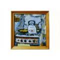 """Картина """"Чайник и рыбные котлеты"""" 2001 год, выполнена маслом на картоне - 50 x 50 см"""
