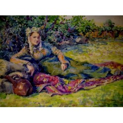 """Картина написанная акварелью и гуашью """"Армянка, отдыхающая во дворе"""" - 24 x 36 см"""