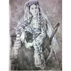 """Картина написанная акварелью, белилом и тушь-пером """"Армянская дива"""" - 35 x 24 см"""