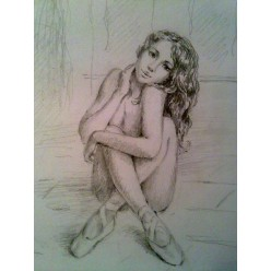 "Картина ""Балерина"" выполнена карандашом - 15 x 20 см"