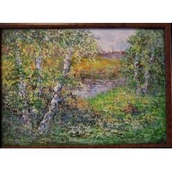 """Картина написанная акварелью и гуашью """"Березовая роща"""" - 35 x 45 см"""