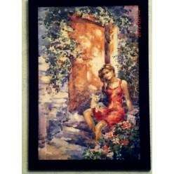 """Картина """"Во дворе"""" выполнена акварелью и гуашью - 35 x 25 см"""