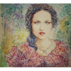 """Картина """"Гордая"""" выполнена акварелью, гуашью и пастелью - 35 x 38 см"""