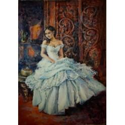 """Картина написанная акварелью и гуашью """"Девушка в белом"""" - 31 x 24 см"""