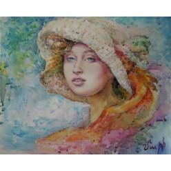 """Картина """"Девушка в шляпе"""" выполнена акварелью и пастелью - 33 x 40 см"""