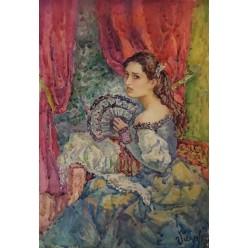 """Картина акварелью и гуашью """"Девушка с веером"""" - 35 x 25 см"""