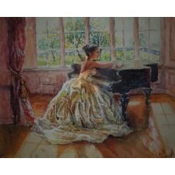 """Картина """"Девушка у рояля"""" выполнена акварелью и гуашью - 35 x 43 см"""