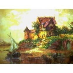 """Картина написанная акварелью и гуашью """"Дом у озера"""" - 24 x 28 см"""