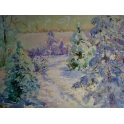 """Картина """"Зима"""" выполнена акварелью и гуашью - 25 x 30 см"""
