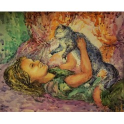 """Картина """"Комочек счастья"""" выполнена акварелью, гуашью и пастелью - 35 x 38 см"""