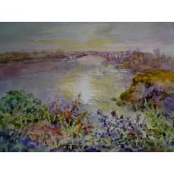 """Картина """"Красоты Днепра"""" выполнена акварелью и гуашью - 15 x 21 см"""