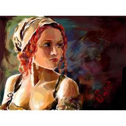 """Картина в компьютерной графике """"Крестьянка"""" - 21 x 28 см"""