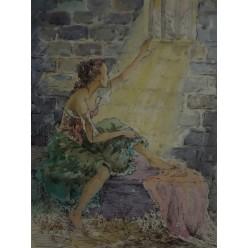 """Картина написанная с использованием акварели и тушь-пера """"Луч надежды"""" - 35 x 25 см"""