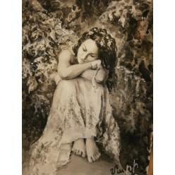 """Картина написанная с использованием акварели, белила, тушь-пера """"Мечтательная грусть"""" - 31 x 23 см"""