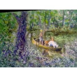 """Картина """"Пастушок"""" выполнена акварелью и гуашью - 15 x 21 см"""