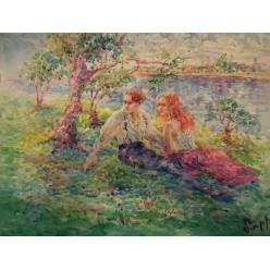 """Картина акварелью и гуашью """"Примирение"""" - 35 x 46 см"""