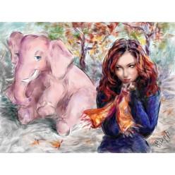 """Картина в компьютерной графике """"Розовый слон"""" - 21 x 28 см"""