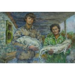 """Картина написанная акварелью и гуашью """"Рыбаки"""" - 29 x 41 см"""