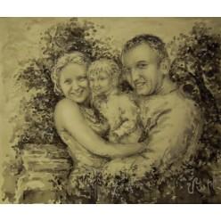 """Картина """"Семейное счастье"""" выполнена акварелью, белилами, карандашом, тушью-пером - 35 x 40 см"""
