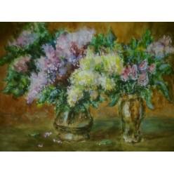 """Картина написанная акварелью и гуашью """"Сирень и тюльпаны"""" - 30 x 42 см"""