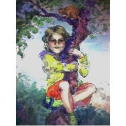"""Картина выполнена акварелью и тушь-пером """"Сорванец"""" - 25 x 35 см"""