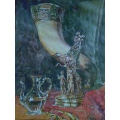 """Картина написанная акварелью и гуашью """"Старинный натюрморт"""" - 25 x 32 см"""